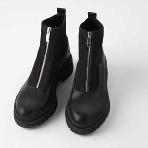 NEW Zara Flat Ankle Boots With Zip And Lug Soles